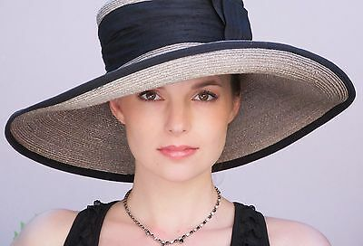 Wedding Hat Church hat, Taupe & Black Hat Wide brim formal hat, dressy event hat