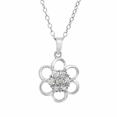 Open Flower Pendant with Diamonds in Sterling Silver