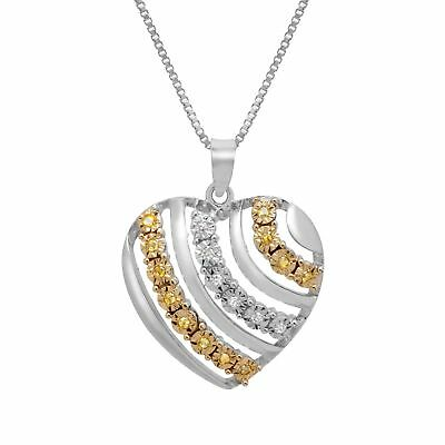 1/10 ct Yellow & White Diamond Heart Pendant in 14K Gold-Plated Sterling Silver