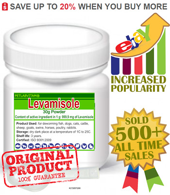 LEVAMISOLE 8% powder 100g De-Wormer Dogs Puppies Cats Kittens Anthelmintic Swine