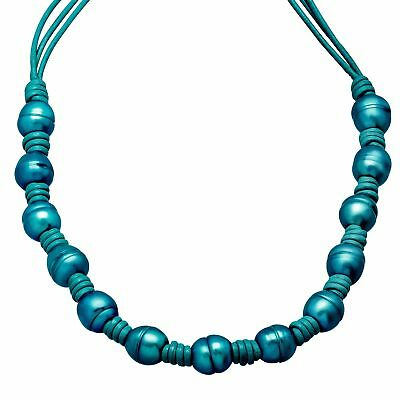 Honora Teal Ringed Freshwater Pearl Leather Cord Necklace Sterling Silver Clasp