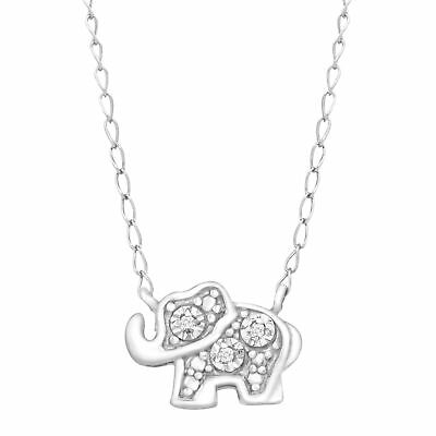 Teeny Tiny Elephant Pendant Necklace with Diamonds in Sterling Silver