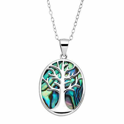 Tree of Love Abalone Cutout Pendant in Sterling Silver