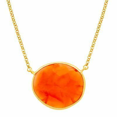 Piara 14 ct Natural Carnelian Necklace in 18K Gold-Plated Sterling Silver