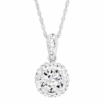 Crystaluxe April Pendant with White Swarovski Crystals in Sterling Silver