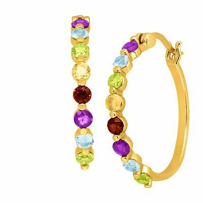 1 3/4 ct Natural Multi-Gem Hoop Earrings in 14K Gold-Plated Sterling Silver
