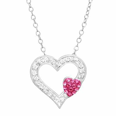 Crystaluxe Open Heart Pendant with Swarovski Crystals in Sterling Silver