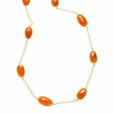 Piara 39 ct Natural Carnelian Station Necklace, 18K Gold-Plated Sterling Silver