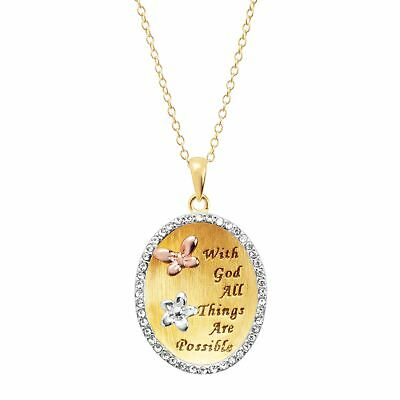 Engraved Oval Pendant with Swarovski Crystals in 18K Gold-Plated Sterling Silver