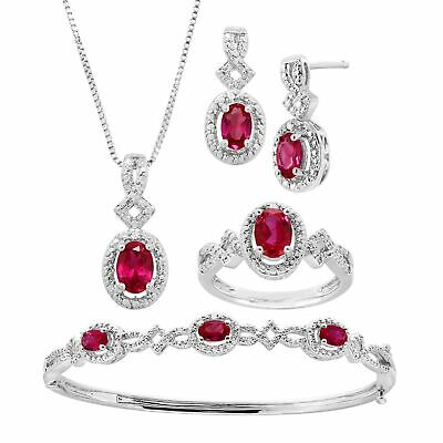 5 ct Created Ruby 4-Piece Jewelry Set with Diamonds in 14KW Gold-Plated Brass