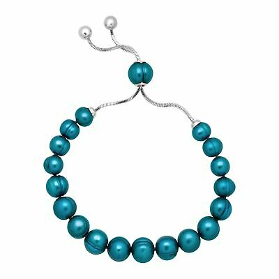 Honora Freshwater Teal Pearl Bolo Bracelet with Slider in Stainless Steel