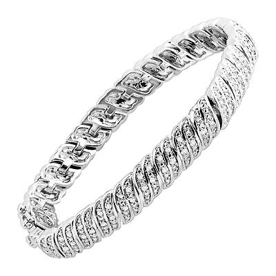 1 ct Diamond 'S' Link Tennis Bracelet in Sterling Silver-Plated Brass, 7.25""