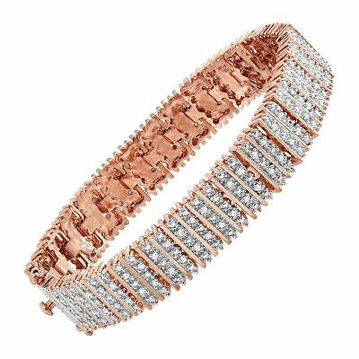 1 ct Diamond Box Tennis Bracelet in 18K Rose Gold-Plated Brass