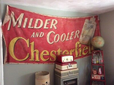 Vintage Huge Fabric Canvas Chesterfield Cigarette Advertising Banner