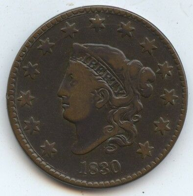 1830 Large Cent (#7832) VF. Carefully Check out the Photos.