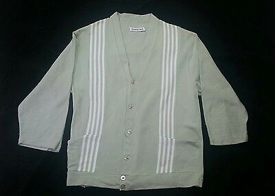 VTG 60s COTTON KNIT MINT GREEN FRONT STRIPED COLLARLESS 3/4 SLEEVE SHIRT JAC S