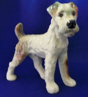 Vintage Ceramic Airedale Wire Hair Fox Terrier Dog (Large)