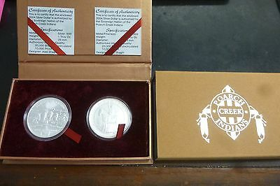 2004 Poarch Creek Nation 2 Silver 1 Ounce Coins - Peace - In Box