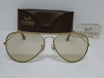d98e2923104 New Vintage B L Ray Ban Large Metal Leathers Ostrich Gold Taupe Changeable  L1513