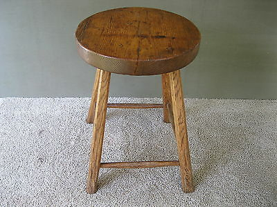 "Antique Stool Primitive Signed Dated 1912, Wood 17-1/2"" Tall, 4-Leg Bench, Table"