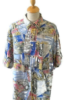 Vintage 90s Abstract Jazzy Shirt size L