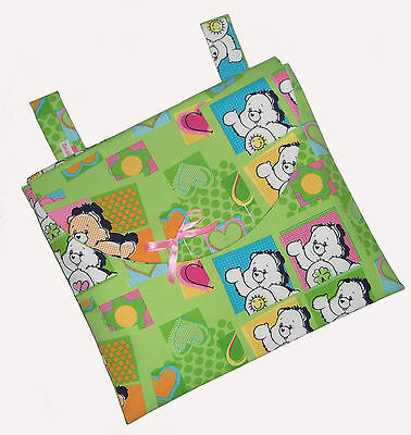 Baby Carebear Fabric Nappy & Wipes Buggy Bag - Pram Travel Changing Bag NEW