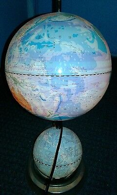 "Vintage Lighted Double Globe World & Astrological Spinning 16"" Touch in Chinese!"