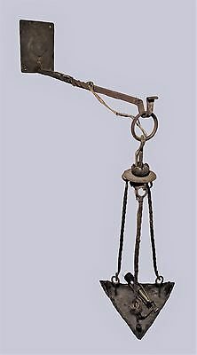 Antique 19th Century Wrought Iron Arts & Crafts Hanging Lamp Sconce With Bracket