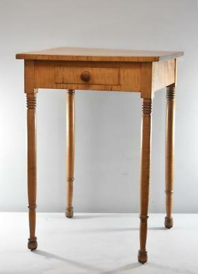 Late 19Th Century Sheraton Federal Style Distressed Side Table Curly Maple