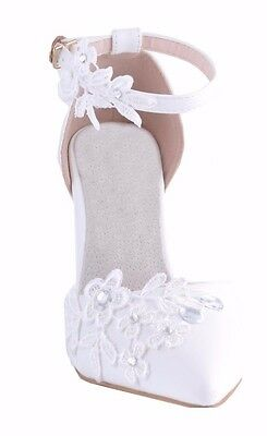 Off White Diamante Pointed Toe Wedding Heels Sandals Bridal Party Shoes