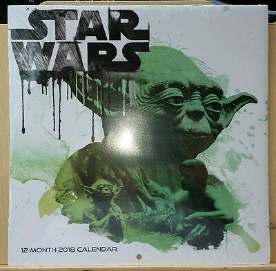 "Disney Star Wars 2018 Wall Calendar 12 Month NEW SEALED 10"" X 20"" painted look"