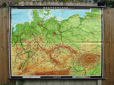 Vintage Pull Down German School Geographical Wall Map Of Germany  Deutschland