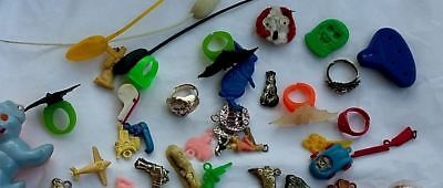 Lot of 55 pcs. 1960's Plastic Colorful Charms, Gum Ball Prizes Toys