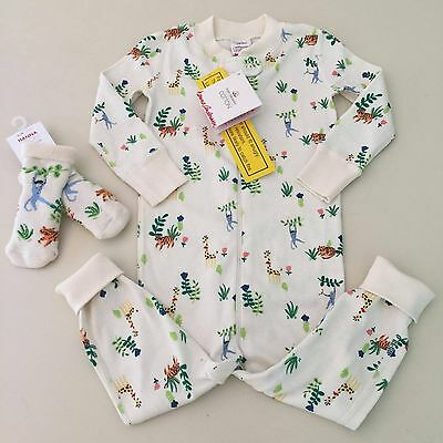 HANNA ANDERSSON Baby Girl's-Boy's JUNGLE Pajama + Socks, Size 18-24 months. NEW!
