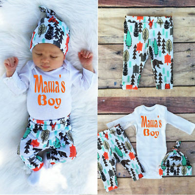 Infant Baby Long Sleeve Tops & Long Pants Hat Outfits Set Clothes 0-3months YM5