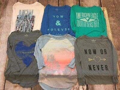 American Eagle Lot of 6 Tops Long & 3/4 Sleeve All Size Small