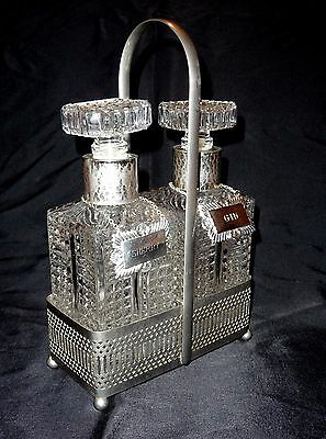 Superb VINTAGE ORNATE DUO DECANTERS BOTTLES + SILVER PLATED STAND & LABELS