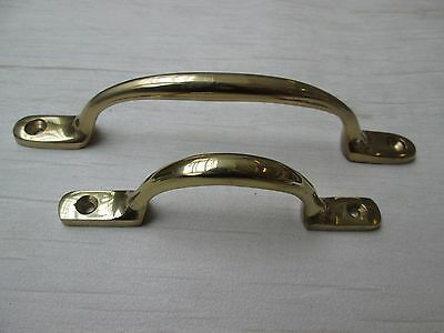 Solid Brass Victorian Sash D Handle Cabinet Cupboard Drawer Pull Handle