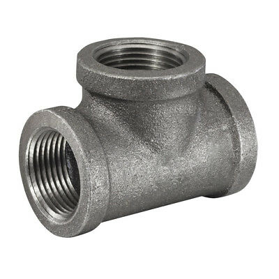 """1-1/2"""" x 1-1/2"""" x 1"""" Inch Black Malleable Reducing Pipe Threaded Tee Fitting"""