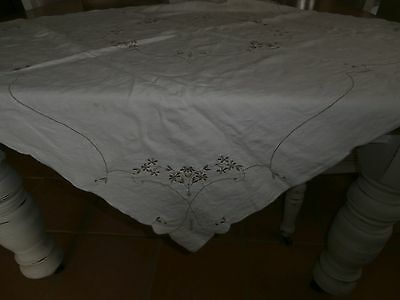 Creme Vintage Embroidered Tablecloth 106 X 102Cm. Gc. Vic.