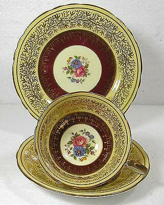 John Aynsley Trio Cup Saucer, Side Plate in the 7773 Pattern Burgundy and Gold