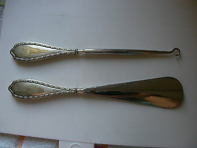 Adie Brothers 1922 Silver Handled Shoe Horn And Button / Lace Puller