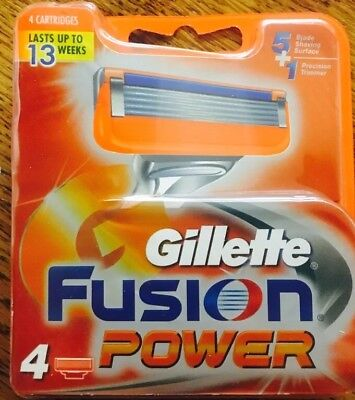 New Gillette Fusion POWER Razor Blades 4 Pack Replacement / Refill Cartridges