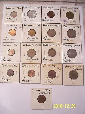 German Coins - Lot Of  17  Coins - Various Dates