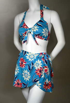 40s Vintage WWII Era HAWAIIAN Floral Halter Top Sarong Skirt Swimsuit Sunsuit