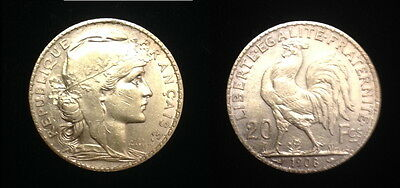 AUTHENTIC 1908 A date-French Rooster 20 Gold Franc--no random dates--BU pre WW-1