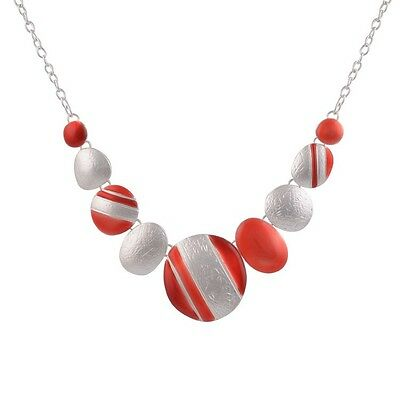 Ethnic Silver Plated Red  Round Chokers Statement Necklace Vintage-SS