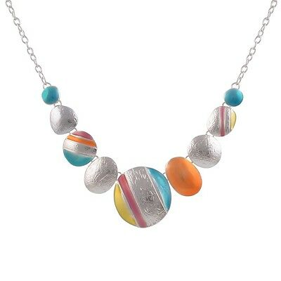 Ethnic Silver Plated Multicolour Round Chokers Statement Necklace Vintage-SS