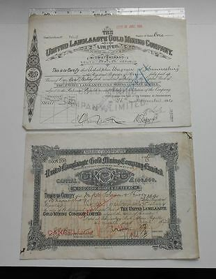 2 Antique South African Gold Mine Stocks United Langlaagte Gold Mining Co. Ltd.