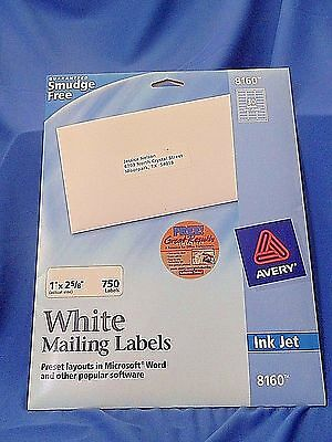 Avery White Mailing Labels Inkjet 630 ct. #8160
